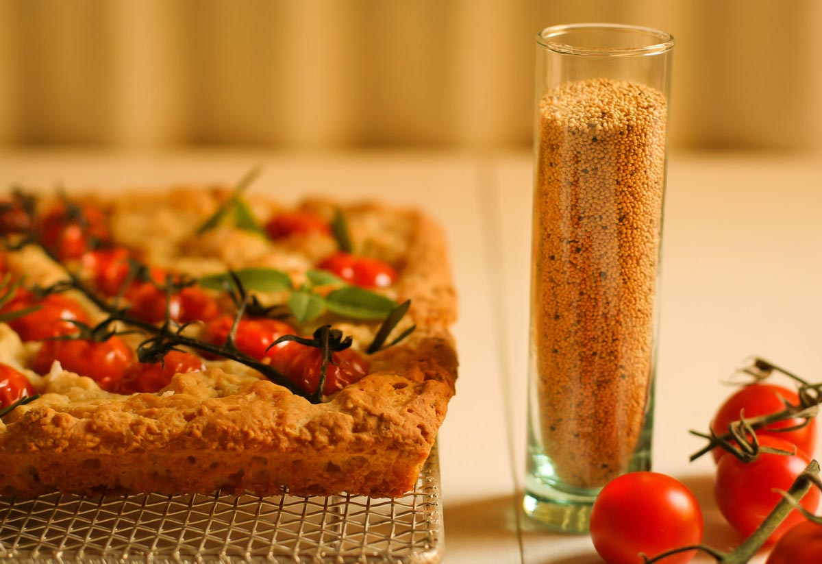 Focaccia de amaranto con tomate en rama. Gluten free!